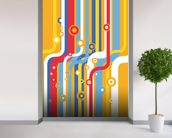 Retro Colourful Lines wallpaper mural in-room view