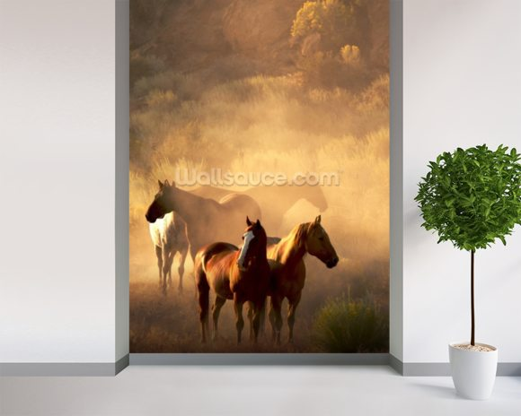 Wild Horses wallpaper mural room setting