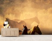 Wild Horses wallpaper mural living room preview