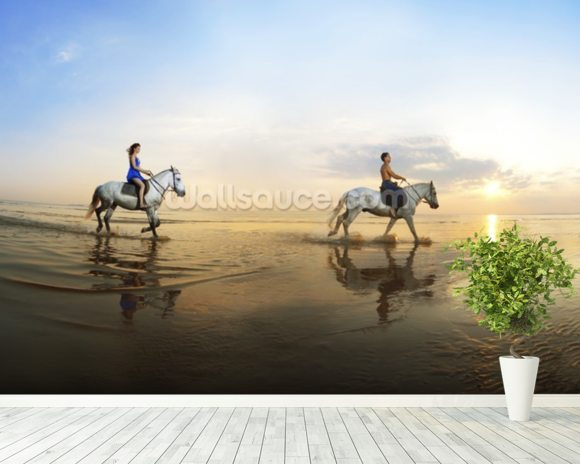 Beach Horse Riding mural wallpaper room setting