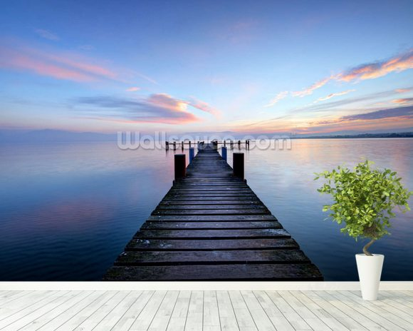 Calm Jetty View mural wallpaper room setting