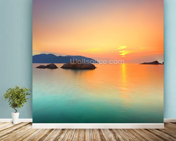 Sunrise mural wallpaper room setting