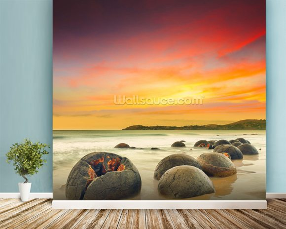 Moeraki Boulders mural wallpaper room setting