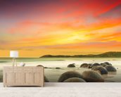Moeraki Boulders mural wallpaper living room preview
