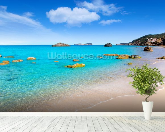 Ibiza Beach mural wallpaper room setting