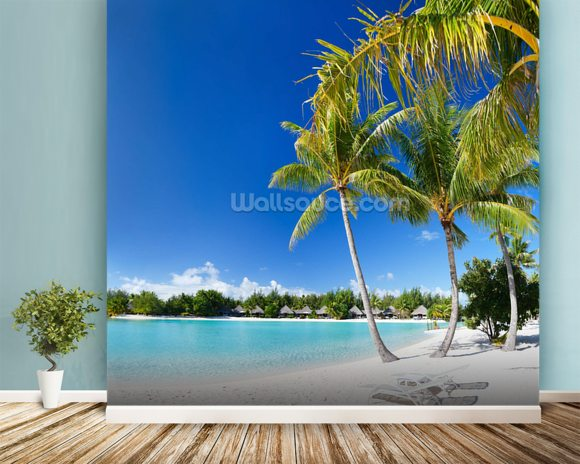 Bora Bora Beach mural wallpaper room setting