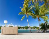 Bora Bora Beach mural wallpaper living room preview