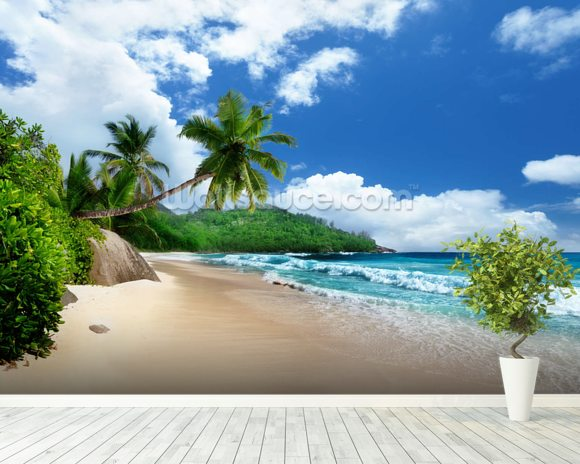 Mahe island beach seychelles wallpaper wall mural wallsauce for Beach mural wallpaper