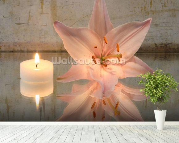Candle and Lilly wallpaper mural room setting
