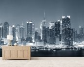 Manhattan Black & White Panoramic wall mural living room preview