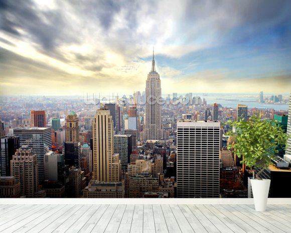 manhattan skyline wallpaper wall mural wallsauce usa