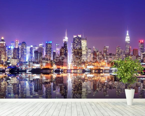 Manhattan Reflections wallpaper mural room setting