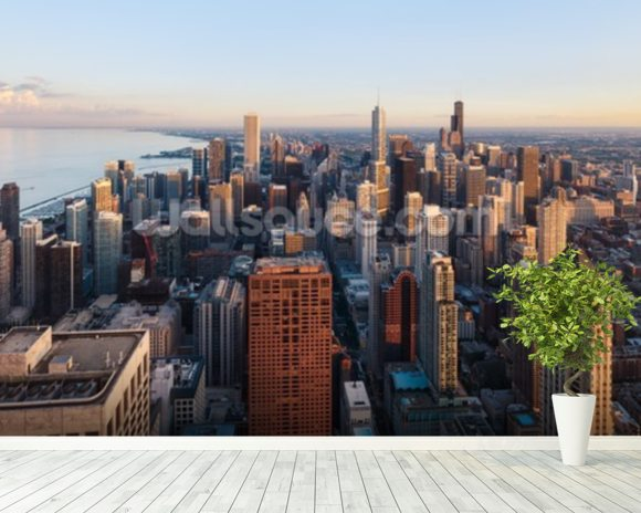 Chicago skyline from above wall mural wallpaper for Chicago skyline mural wallpaper