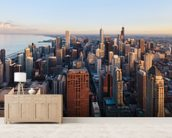 Chicago Skyline mural wallpaper living room preview