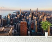 Chicago Skyline mural wallpaper in-room view