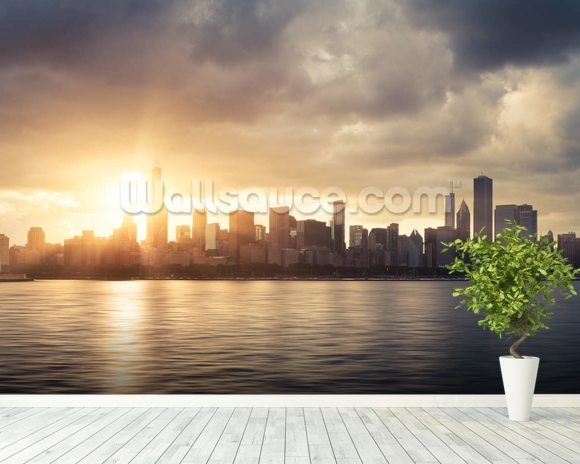 Chicago wallpaper wall mural wallsauce usa for Chicago wall mural