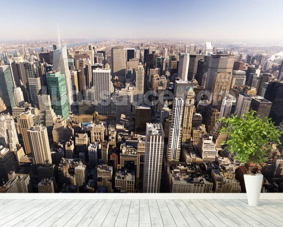 New York City wall mural room setting