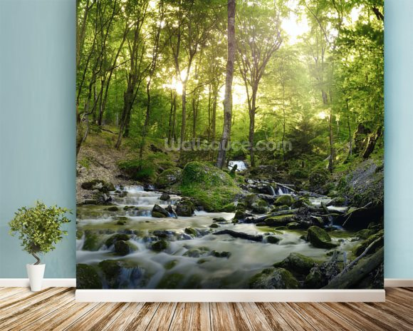 Beautiful Forest Waterfall Wall Mural Wallpaper Wallsauce USA