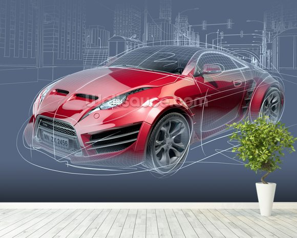Sports Car Sketch wallpaper mural room setting