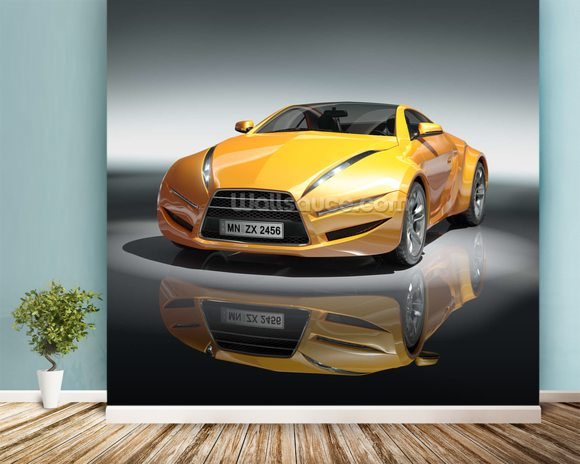 Yellow sports car mural wallpaper room setting