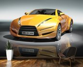 Yellow sports car mural wallpaper kitchen preview