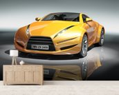 Yellow sports car mural wallpaper living room preview
