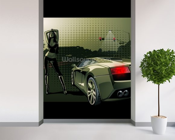 Sports Car Illustration wall mural room setting