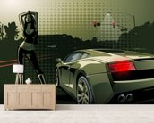 Sports Car Illustration wall mural living room preview