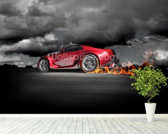 Sports Car Burnout wallpaper mural room setting