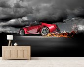 Sports Car Burnout wallpaper mural living room preview