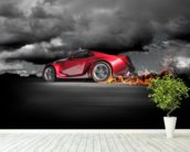 Sports Car Burnout wallpaper mural in-room view
