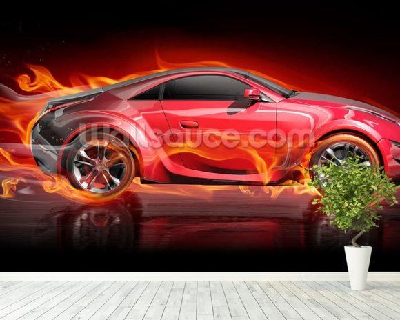Beautiful Burnout Car Mural Wallpaper Room Setting
