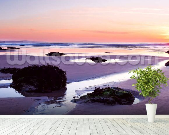 Porthtowan Beach Cornwall mural wallpaper room setting