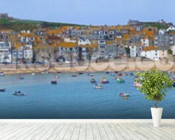 St Ives Panoramic, Cornwall wallpaper mural room setting
