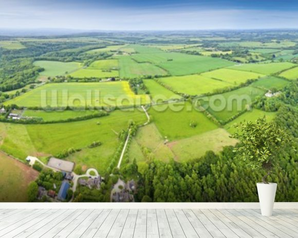 The Cotswolds, Ariel View mural wallpaper room setting