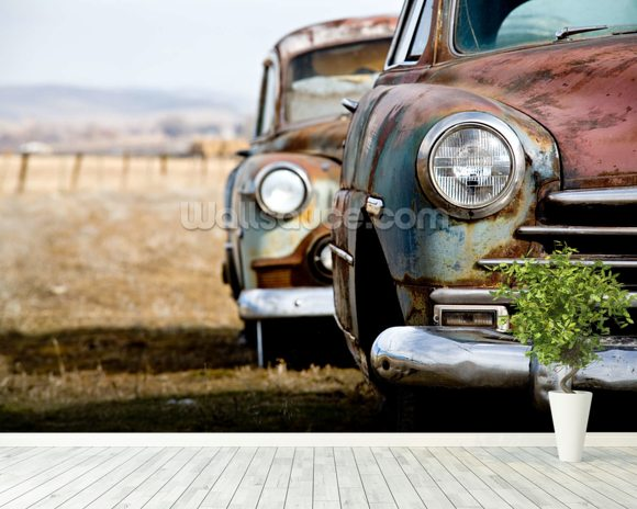 Rusting Vintage Car wallpaper mural room setting
