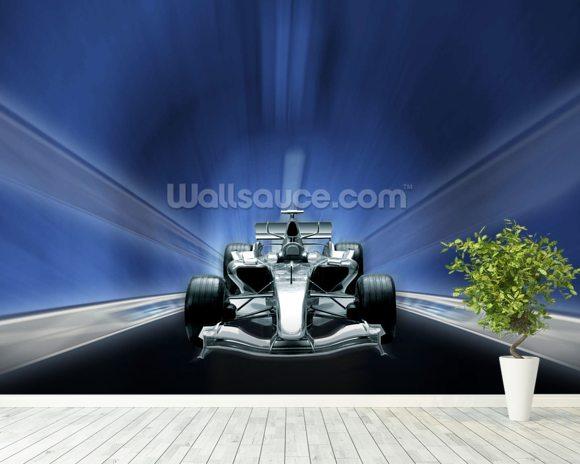 Formula One Car Mural Wallpaper Room Setting