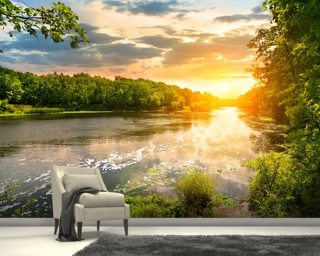 River Sunset Wall Mural Wallpaper Wall Murals