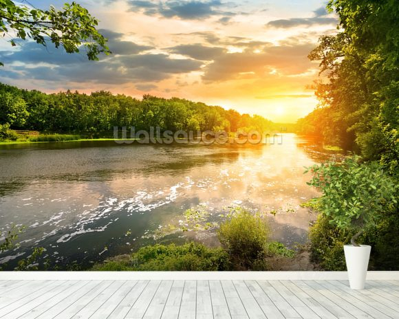 River Sunset wall mural room setting