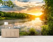 River Sunset wall mural living room preview