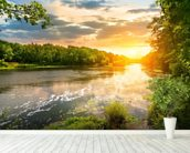 River Sunset wall mural in-room view
