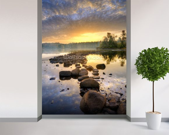 Lake wallpaper mural room setting