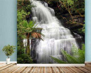 Waterfall wallpaper wall murals wallsauce usa rainforest waterfall voltagebd Image collections