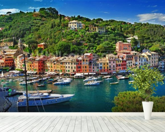 Portofino wall mural room setting