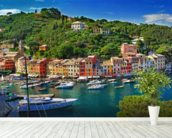 Portofino wall mural in-room view