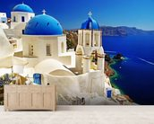 Caldera Santorini mural wallpaper living room preview