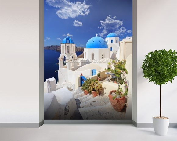 Blue Dome Church, Santorini mural wallpaper room setting