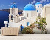 Blue Dome Church, Santorini mural wallpaper living room preview