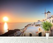 Santorini Sunset wall mural in-room view