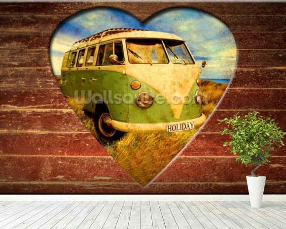 VW Camper Green and White wall mural room setting